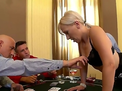 Blond lascivious milf Samantha White enjoys getting her meat holes filled with gigantic cocks