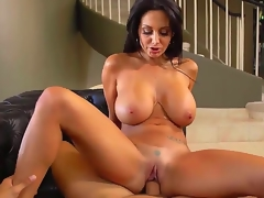 Stylish cock hungry black haired curvy milf Ava Addams with big jaw dropping tits and soaked wazoo in white undies solely gives head to Danny Mountain and rides on his pecker.