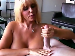 Breasty blond honey Karen Fisher looks amazing! Now she becomes nude before man, plays with his long shlong by tender hands and feels how the tool enters her snatch.