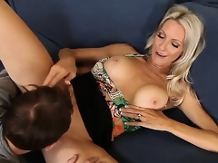 Emma Starr seduces friend of her son Joey Brass to have banging! The dude couldnt resist temptation to fuck this lady! They have fellatio and continue with vaginal sex.