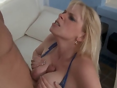 Cameron Keys met his sons friend Levi and saw his cock by accident. So like all naughty bitches this babe decided to taste it immediately. Levi didnt matter at all. Lucky guy, he is absolutely cheerful
