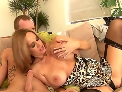 Impressive seductive hawt a-hole golden-haired milf Completely Tabitha with big breathtaking knockers in arousing underware gets her bald minge licked and gives nice oral-job to younger horny stud