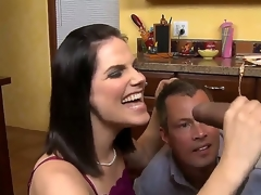 Black haired milf with great mangos in lingerie Bobbi Starr takes on a hawt sexy chap Sledge Hammer in the kitchen, gives him a hawt blowjob on her knees while Jimmy Broadway watches