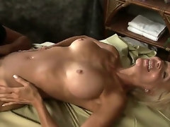 The beautiful large titted milfs Debi Diamond and Erica Lauren are enjoying the fierce lesbian fucking during which one female is loudly groaning getting the pussy licked by one more