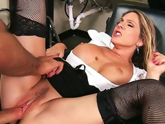 Angela Attison is always ready to get dirty at her work. This babe denudes her banging milk sacks for a naughty titjob and then gets her MILF pussy exploited by a giant cock.