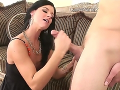 Beautiful and arousing dark haired milf India Summer meets turned on guy Scott Stone and enjoys in hot and passionate sex session with lots of licking and ramming on couch