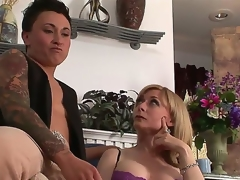 Gorgeous busty MILF Nina Hartley is rencounter a very peculiar lesbo kitty ally tonight. This time she will be getting it on with studly inked diesel dyke Syd Blakovich A!