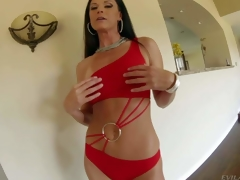 India Summer is a hot bodied tall black haired MILF with skinny figure and agreeable round ass. Woman in red bows over in front of a curious guy and gets her arse spanked by his schlong with her pants on