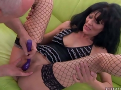 Long haired aged dark brown Regina in fishnet nylons spreads her sexy legs and then dude makes her squirt. She receives her hole finger screwed and her clit vibrated previous to this babe receives orgasm