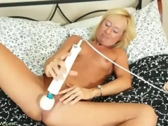 Taut body blonde mature acquires naked and masturbates