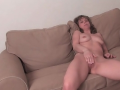 Fit older sweetheart disrobes bare and masturbates