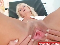 Mama Frantiska cunny gaping in nurse uniform at clinic