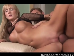 Big breasted golden-haired milf  rides cock