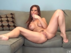 Curvy solo mom with fake tits has toy sex