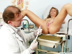 Older Vladimira acquires her slit properly gyno examined by kinky gyno doctor