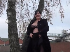Biggest Amateur milfs public exhibitionism and alfresco chunky flashing of knockers and beaver in A busy roundabout