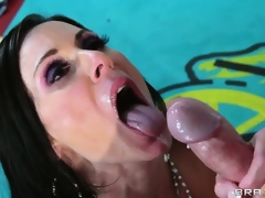 The last bell dings as this horny boxer unloads his cock juice on her pretty MILF face