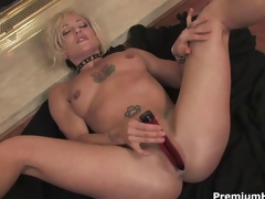 Blonde mommy teasing and striping