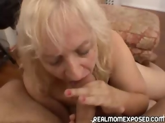 Older woman gets a warm facial!