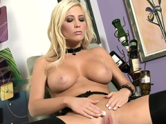 Now that's a blonde worth watching as she disrobes and shows her slit