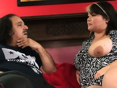Chubby Asian courtesan is smitten with the biggest dick of Ron Jeremy