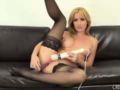 Hot blonde cutie, Angela Sommers goes to town in this solo performance