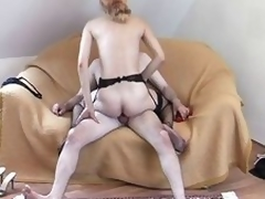 Housewife up a garter belt gets a juicy spunk flow on her face