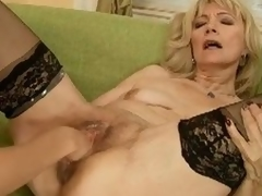 Blonde older gets fisted and dildoed with a atypical