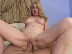 Blond mature takes his cock in POV