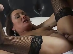 MILF Michelle Lay in black mesh nylons is sex hungry after  divorce. Johnny Sins is her BF and his pecker is big! She blows his meat pole and then gets her eager older bawdy cleft drilled.