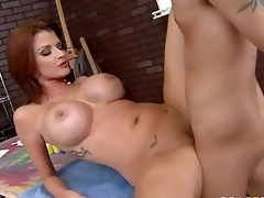 Milfy pornstar Joslyn James with red hair and massive boobs has a fine time with one of her fans who finds his hard shlong in her experienced mouth and then deep inside her hawt soaked pussy.