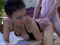Beautiful older sweetheart in a sexy lacy nighty blows new meat and gets doggie